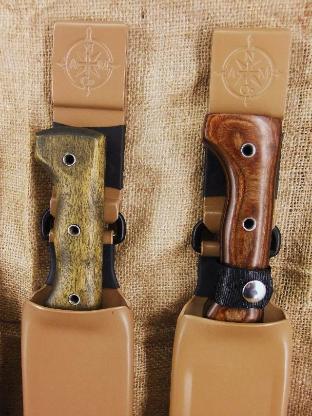 Machete Shop Display of  the two Coyote Tan Belth Hung Sheaths